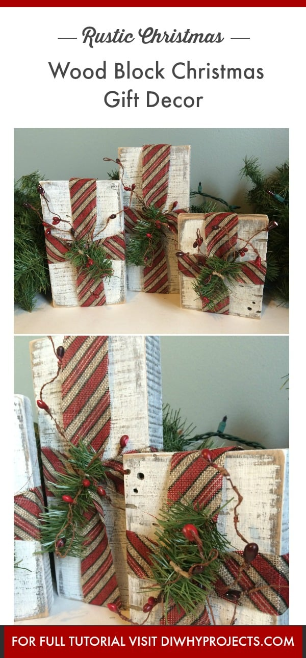 Diy rustic wood block christmas gifts decor d i why projects